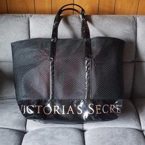 Victoria's Secret large black patent mesh tote